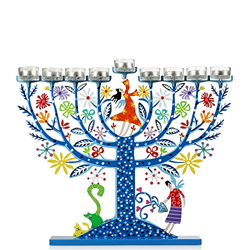 Light Blue Family Tree Hanukkah Menorah By Tzuki Art Height: 15.9