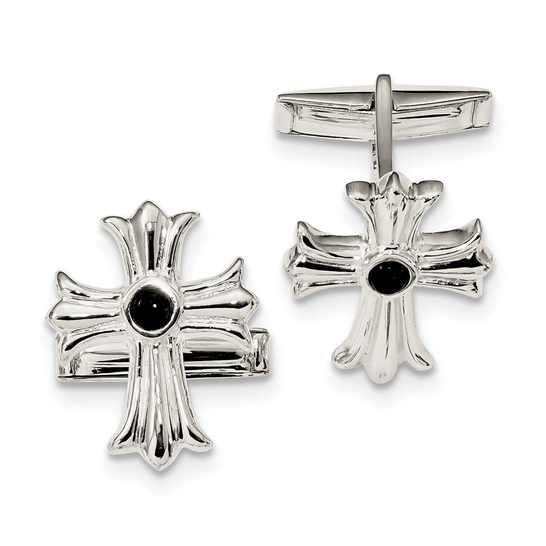 ICE CARATS 925 Sterling Silver Black Onyx Cross Religious Cuff Links Mens Cufflinks Link Fine Jewelry Dad Mens Gift Set