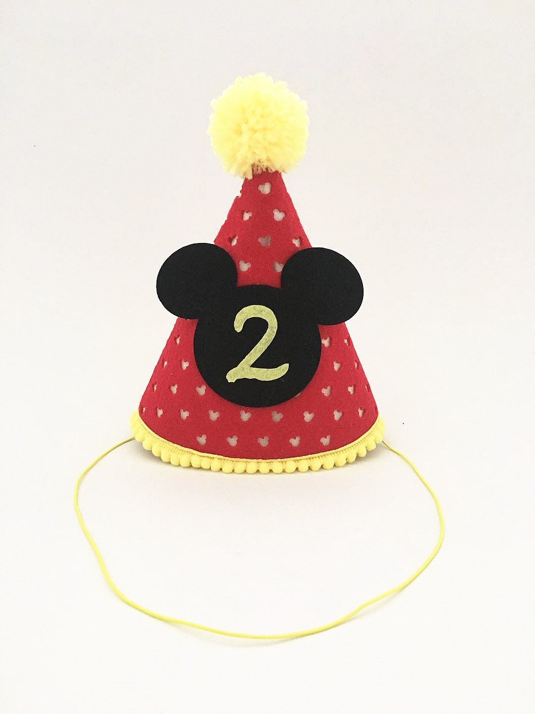 Mickey Party Hat| Second Birthday Outfit Boy Mickey Mouse Party Hat Cake Smash Outfit | 2nd Birthday Outfit | Party Hat | Cake Smash Cake Photoshoot Photoprop (Second Birthday Hat, Elastic Strap) by OrangeDolly