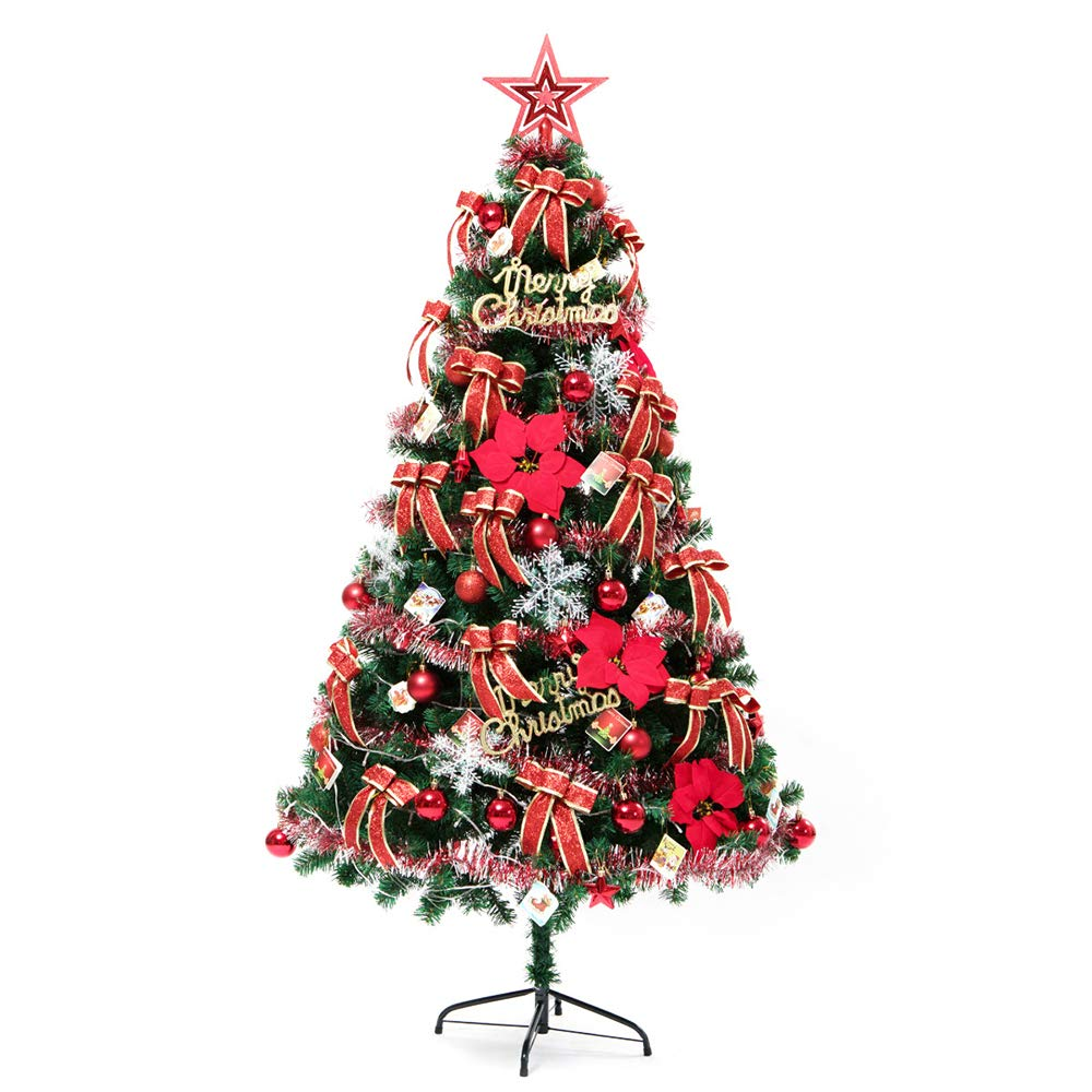 C&G 1.2M Household Christmas Tree, Luxury Encrypted Illuminated Large Christmas Tree Set Glowing Ornament for Christmas/School Party/Festival/Birthday Party,Red by C&G