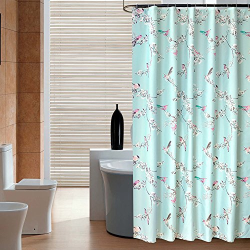 Uphome 72 X Inch Fashionable Birds On Plum Blossom Kids Bathroom Shower Curtain