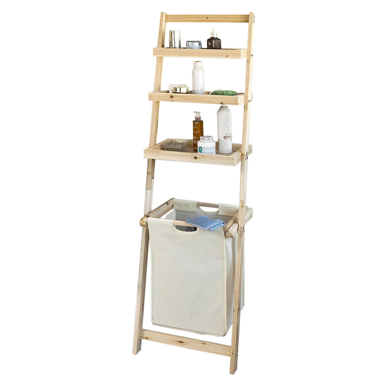 SoBuy® FRG160-N, Bathroom Storage Shelf, Ladder Shelf with 3 Storage Shelves &1 Removable Laundry Basket