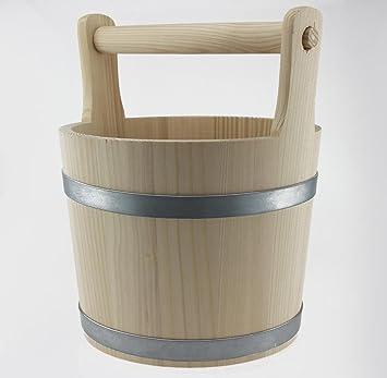 Sendez Gro/ßer Holzeimer mit Holzgriff 7 Liter Wassereimer Eimer Handarbeit Holz