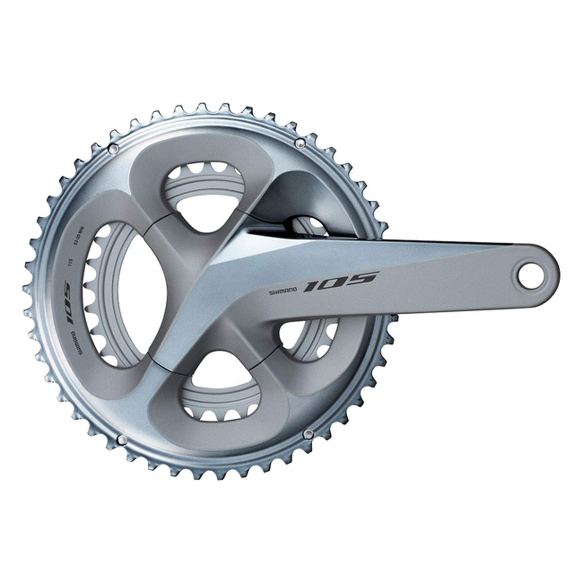 SHIMANO 105 Double Road Bicycle Crank Set - FC-R7000 (Silver - 165MM, 53-39T W/O CG, W/O BB Parts) by SHIMANO