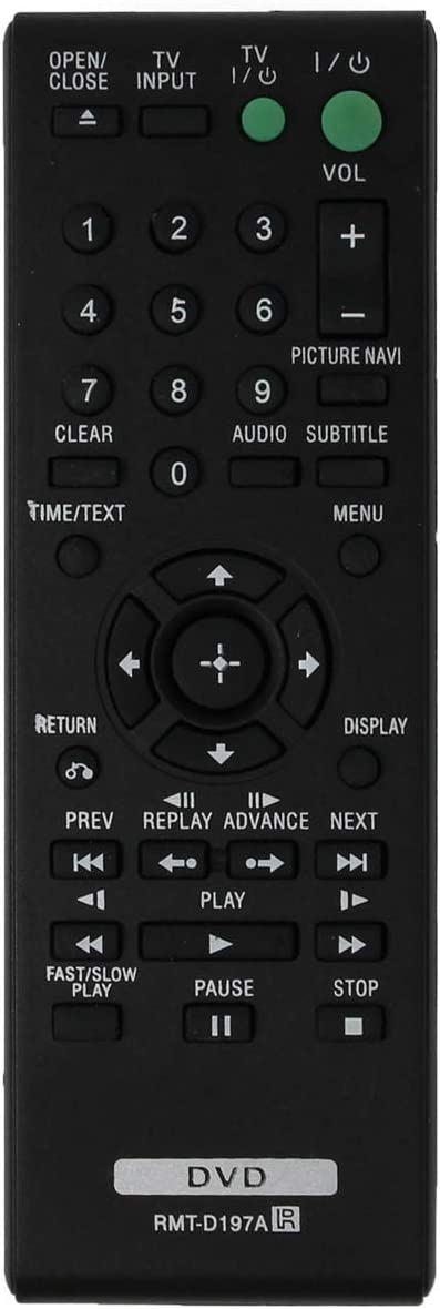 Replacement Sony RMT-D197A Remote Control for DVP-SR210, DVP-SR210P, DVP-SR510, DVP-SR510H, DVPSR201P, DVPSR210P, DVPSR405P, DVPSR510H DVD Player