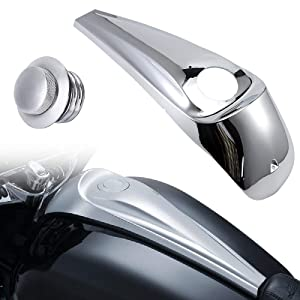 Smoot Dash Fuel Console Cover Kit + Clockwise Flush Pop Up Gas Cap Vented Fuel Tank Cover For Harley Touring Electra Road Street Trike Glide Ultra Limited 2008-2018 (Chrome)