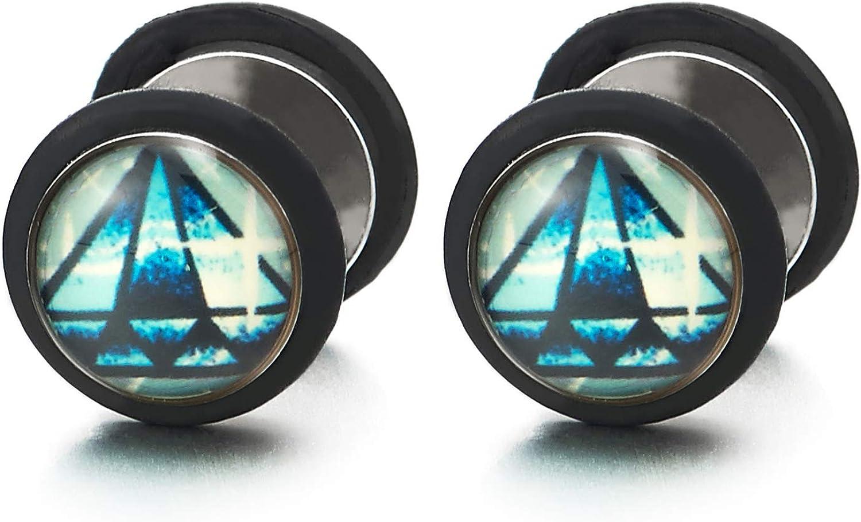 Mens Pale Blue Diamond-shape Dome Circle Stud Earrings, Steel Cheater Fake Ear Plugs Gauges