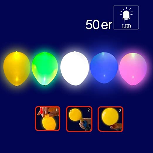 111 opinioni per YOHOOLYO 50 x Palloncini LED Palloncini Luminosi Luce Led Multicolori per