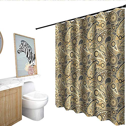 (Earth Tones Hotel Style Shower Curtain Iranian Pattern Based on Traditional Asian Paisley Welsh Pears Mens Shower Curtain Sand Brown Black Beige W36 x L72 )