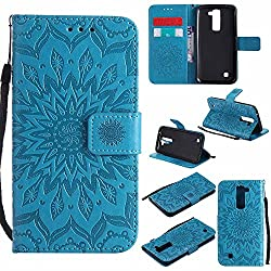 K7 Case, K8 Cover, Dfly-US Premium Soft PU Leather Embossed Mandala Design with Kickstand Function Card Slot Holder Slim Flip Protective Wallet Cover for LG K7 / LG K8, Blue