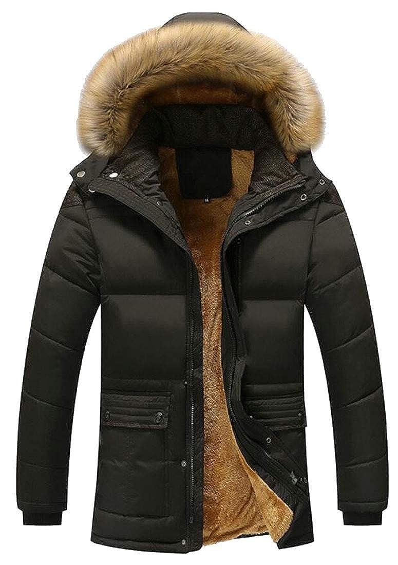 omniscient Men Winter Thicken Cotton Coat Padded Parka Jackets Outerwear with Fur Hood