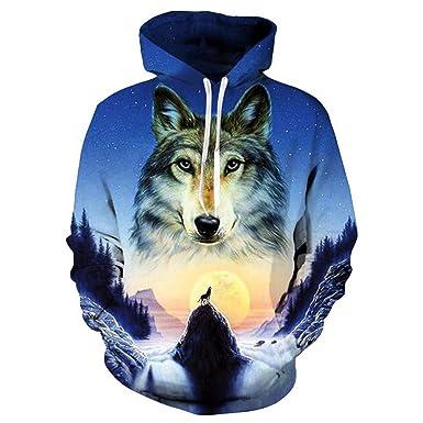 TreesGlod 3D Printing Animal Wolf Mens Hiphop Leisure Hoodies Sweatshirts Hooded Black White Lovers Sweetheart Clothing