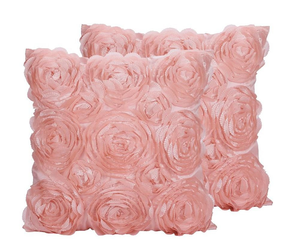 SeptCity Decorative Throw Pillow Covers for Couch Cushion Case, Romantic Love Satin Rose Wedding Party Home Decor, Home Gift (Set of 2)- #Pink by SeptCity