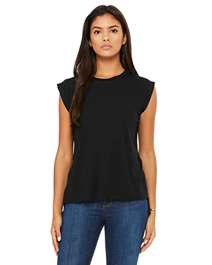 1cb814bee Bella + Canvas Women's Flowy Muscle Tee with Rolled Cuff at Amazon ...