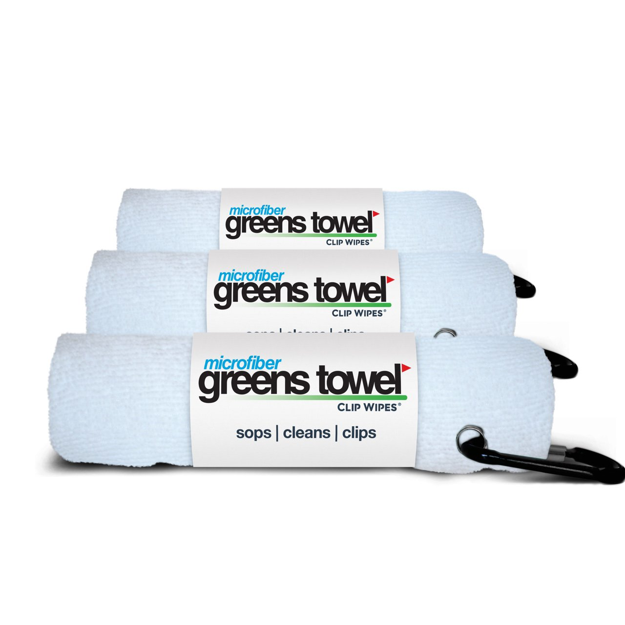3 Pack of White Microfiber Golf Towels by Greens Towel