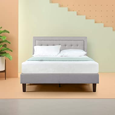 Zinus Upholstered Button Tufted Premium Platform Bed/Strong Wood Slat Support/Grey Sand, Queen