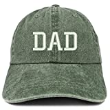 Trendy Apparel Shop Dad Embroidered Pigment Dyed Low Profile Cotton Cap - Dark Green