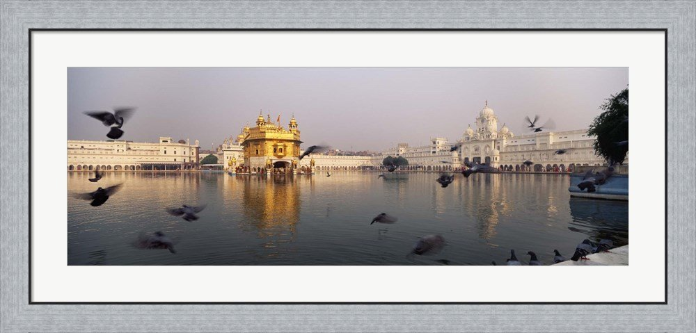 Reflection of a temple in a lake, Golden Temple, Amritsar, Punjab, India by Panoramic Images Framed Art Print Wall Picture, Flat Silver Frame, 44 x 20 inches