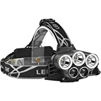 Rechargeable headlamp, 5 LED 6 Modes 18650 USB Rechargeable Waterproof Flashlight Head Lights for Camping, Hiking…