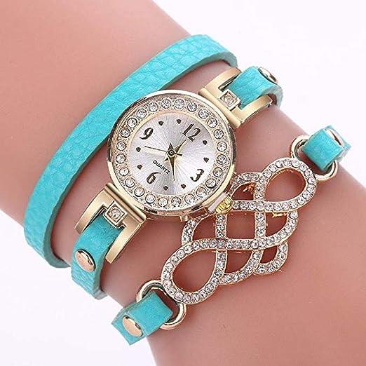 Reloj de Pulsera de Cuarzo de Cristal de Lujo de Las Mujeres Ladies Diamond Round Wrap Around Cuero analógico Reloj de Pulsera Relojes de Moda Relojes para ...