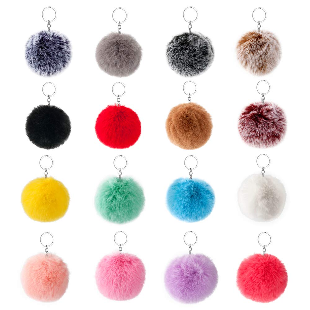 16 PCS Faux Fur Pom Pom Balls Keychain for Hats Shoes Scarves Bag Pom Balls (Mix Colors)
