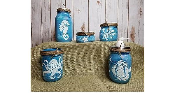 Amazoncom Under The Sea Mason Jar Bathroom Set Handmade