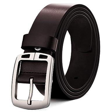 MUCO Cinturón para hombre Cinturones de hebilla cinturón casual Piel Negro Adecuado para jeans y trajes