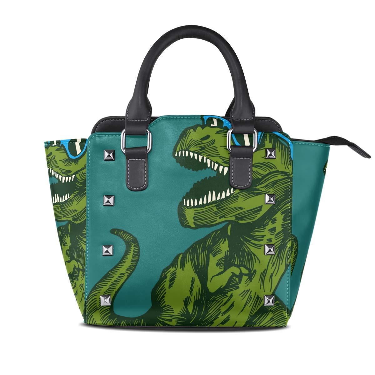 Design3 Handbag Horse Galloping Genuine Leather Tote Rivet Bag Shoulder Strap Top Handle Women