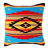 Throw Pillow Covers 20 X 20, Hand Woven Southwest, Mexican, and Native American Styles. Hand Crafted Western Decorative Pillow Cases (Turquoise and Tan)