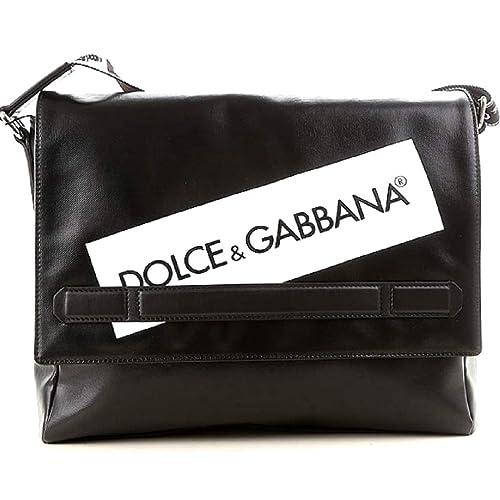 Dolce   Gabbana borsa tracolla cartella da lavoro in pelle uomo BM520A nero 78f44d50a48
