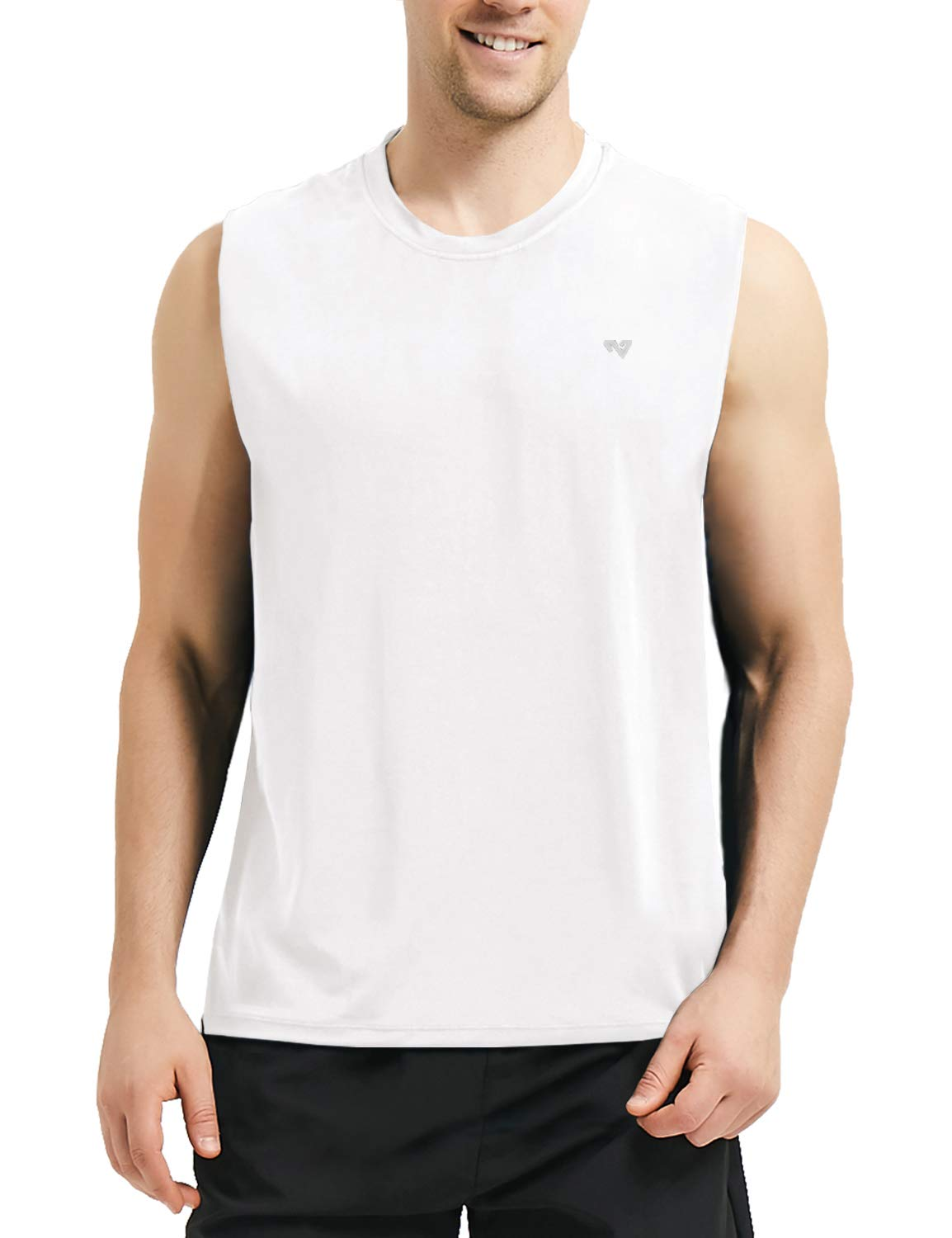 Roadbox Men's Performance Sleeveless Workout Muscle Bodybuilding Tank Tops Shirts White by Roadbox