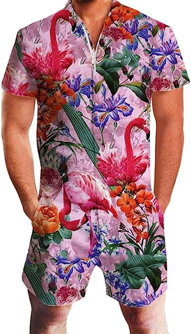 Coolred-Men Hawaii Casual Shirts Top Short Pants Jumpsuit