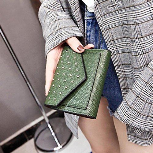 Card grey Portafoglio Pochette Pack Women Borse Frizione Donna Colore Light Green Breve Rivetti Simple Portafoglio Fresh Moda 2 9cm Trifold Dimensioni 12 77OvwRn