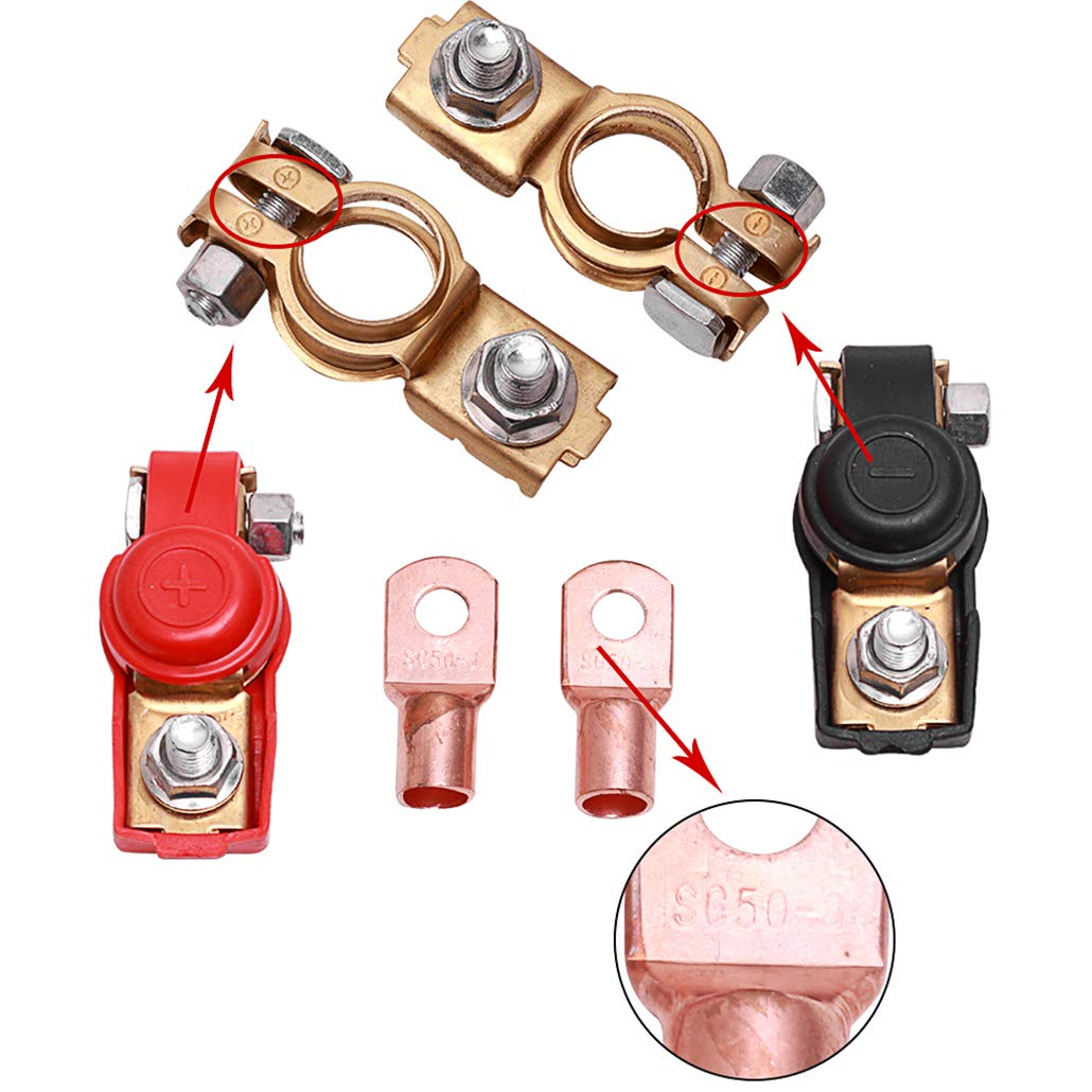 8PCS Copper Battery Terminals Negative and Positive Car Battery Cable Terminal Clamps Connectors with Heavy Duty Copper Ring Terminal Assortment Kit