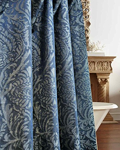 Isabella Blue Faux Silk Fabric Shower Curtain Button Holed 72