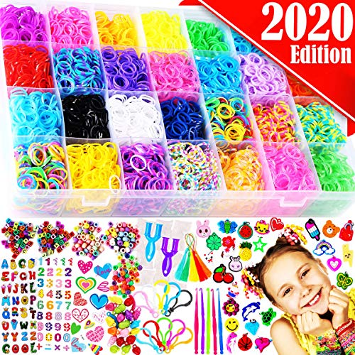 FunzBo Rubber Bands Bracelet Making Kit - Loom Bands Maker Refill Kits Set 10 in 1 Super 11900+ Rainbow Rubberband - DIY Crafting Craft Art Bracelets Accessories Gift for Kids Age 5 6 7