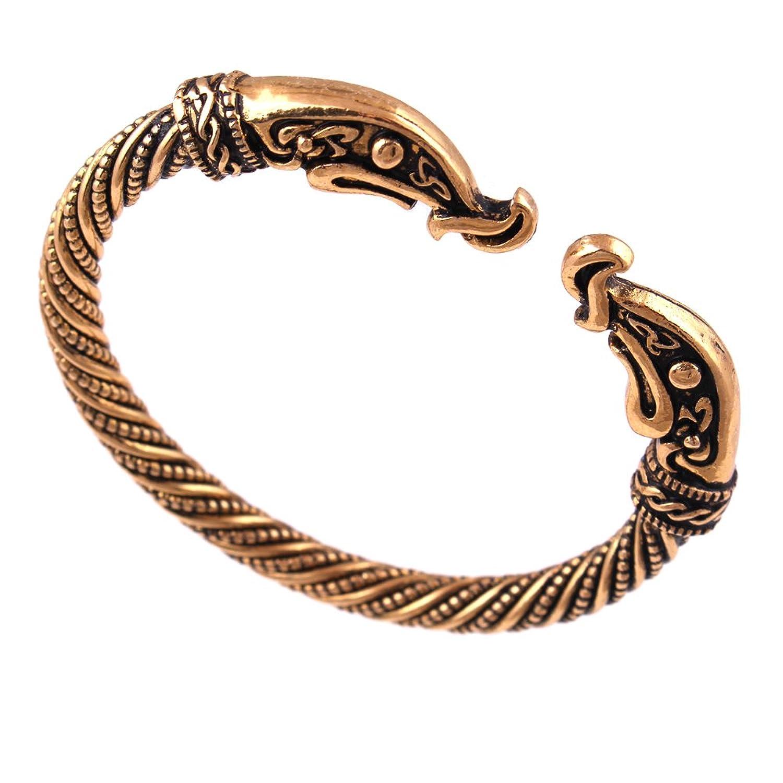 Viking Dragon Bracelet Screw Nail Bangle Punk Gothic Knot Norse Nordic Jewelry Pagan Beast Wristband