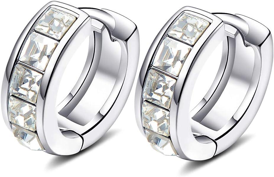 4c12d3dcf890 YOURDORA Mujer Oro Blanco Plateado Cristales de Swarovski Pendientes Tous  Aretes Aro Pequeños de 15mm Joyas de Moda Regalo