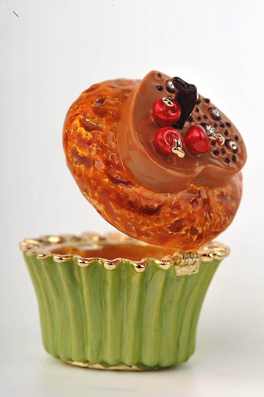 Butter Cupcake with Chocolate Heart /& Cherries Faberge Styled Trinket Box Keren Kopal