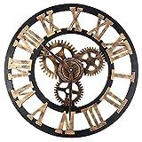 Robolife 17.7 Inch Oversized 3D Decorative Wall Clock Retro Art Gear Roman Numerals Design #2
