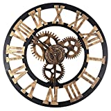 15.75 Inches Over-sized 3d Wall Clock, Silent Gear Wall Clock, Retro Rustic Large Wall Clock Decorative, Noiseless Big Wall Clock Vintage Antique Distressed Art Roman Numerals Design (Copper) For Sale
