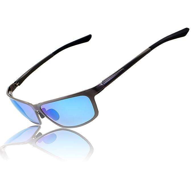 RONSOU Hombres Deporte Metal Polarizadas Gafas de sol para Conducción Pesca Al aire libre con gris