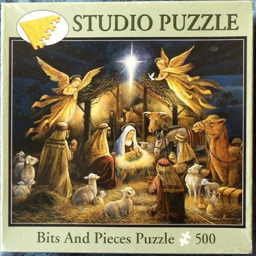 Bits and Pieces Puzzle 500 Fully Interlocking Pieces. In the Manger Artist- Ruane Manning