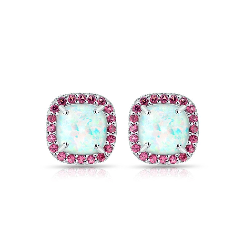 Sterling Silver Simulated White Opal and Gemstone Cushion-cut Halo Stud Earrings