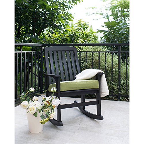 BHG Delahey Wood Porch Rocking Chair, Dark Brown, Better Homes and Gardens (Wood Rocker Garden)