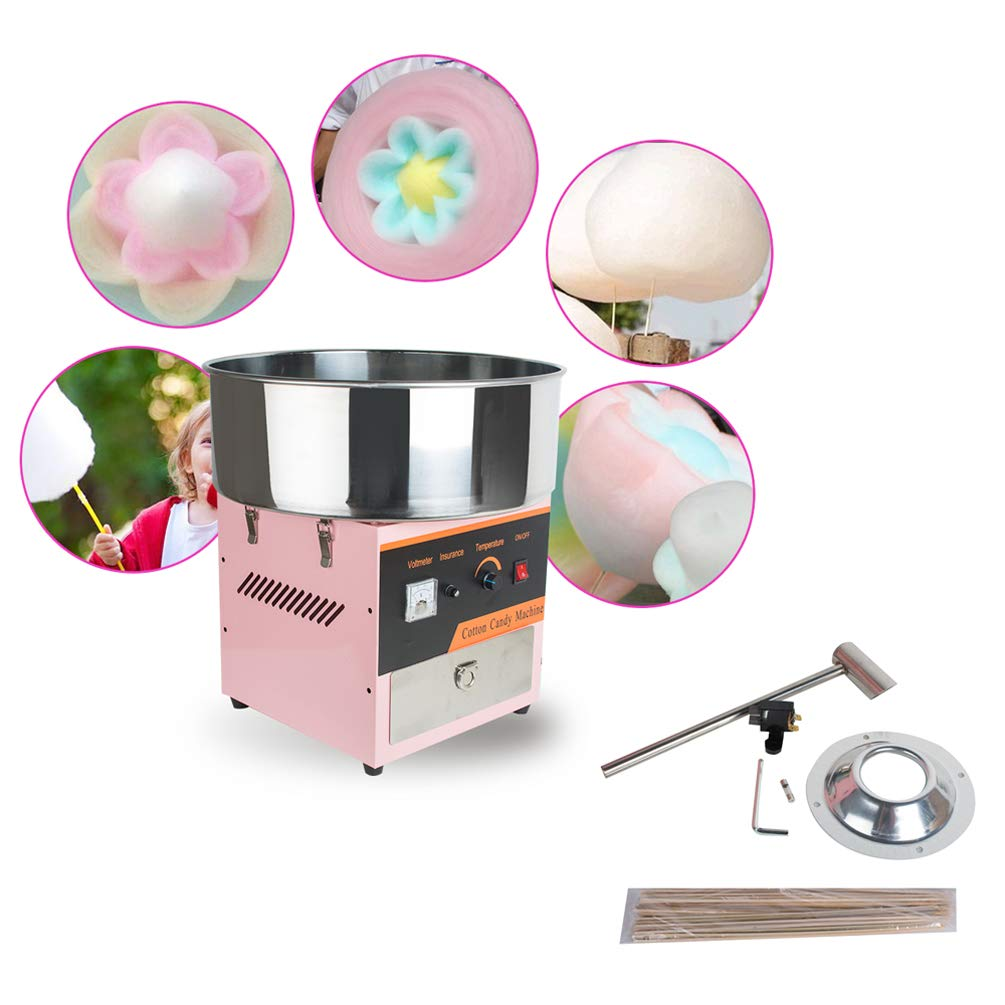 Enshey 20.5 Inch Commercial Cotton Candy Machine Electric Candy Floss Maker with Drawer 80W Tabletop Aluminum Heating Component Stainless Steel Scoop Built-In Fuse, US 2-5 Days Delivery by Enshey1