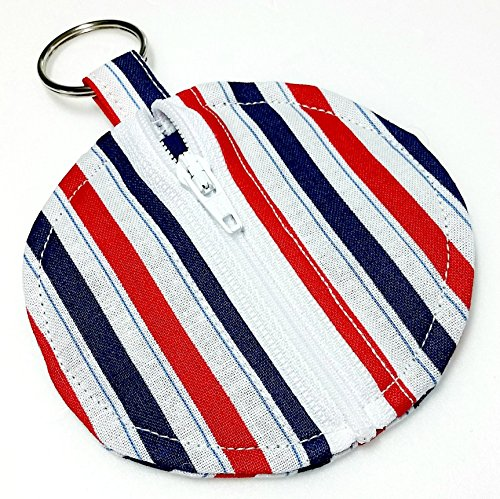 Red White & Blue Striped Earbud Zippered Pouch Handmade