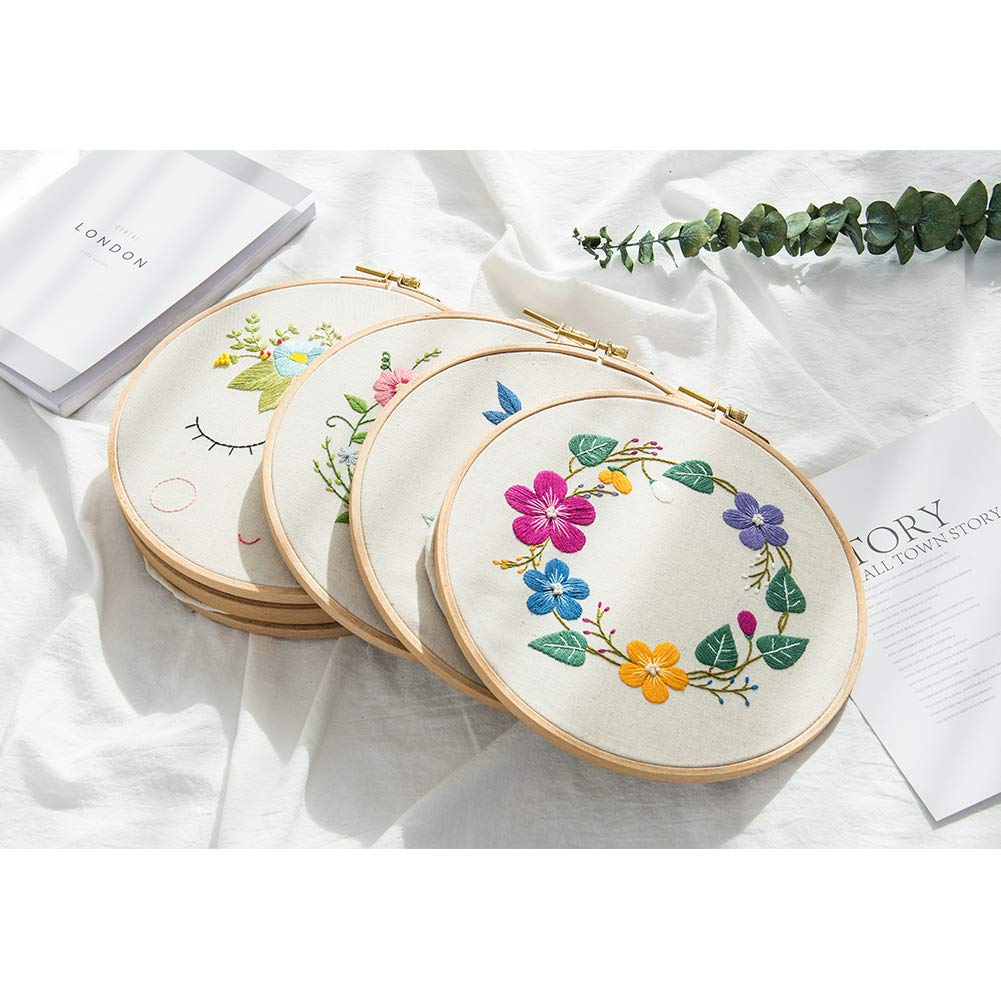 5in 10pcs Embroidery Quilt Hoops Wooden
