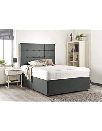 49bf8da513a0 Bed Centre Grey Linen Memory Foam Divan Bed Set With Mattress, Headboard  And 2 Free