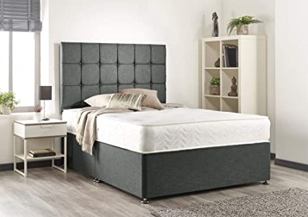Grey Linen Memory Divan Bed - Support Mattress